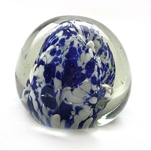 Vintage Blown Art Glass Blue/White Paperweight